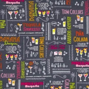 Happy Hour Cocktails Recipes Grey Glasses Party Drinks Cocktail Glass Cotton Fabric