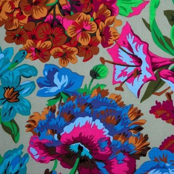 Kaffe Fassett Collective Cool 2016 Voluptuous Floral Flowers Grey Philip Jacobs Cotton Fabric