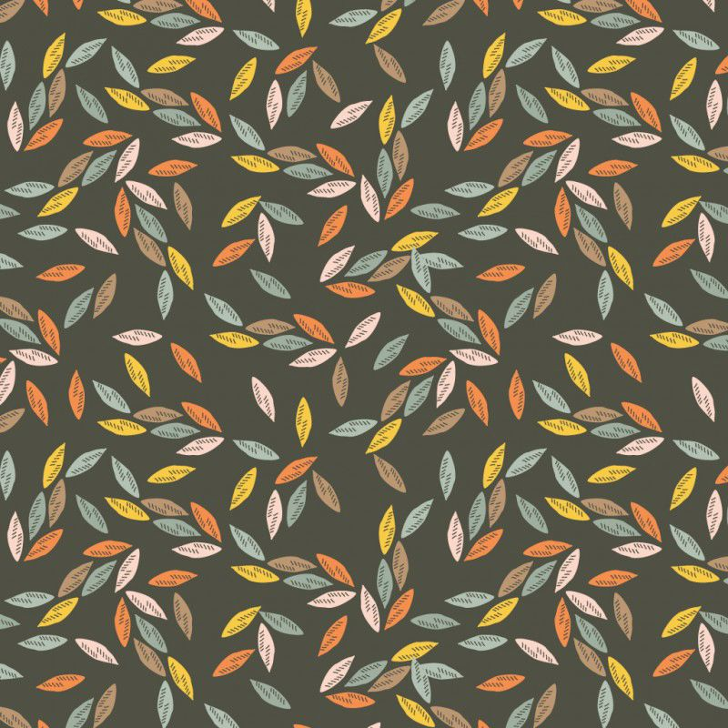 Ravishing Rayons Autumn Leaves Leaf Brown Viscose Rayon Challis Fabric 145c