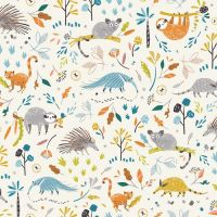 Hanging Around Anteater and Friends White Sloth Bush Baby Animals Nursery Cotton Fabric