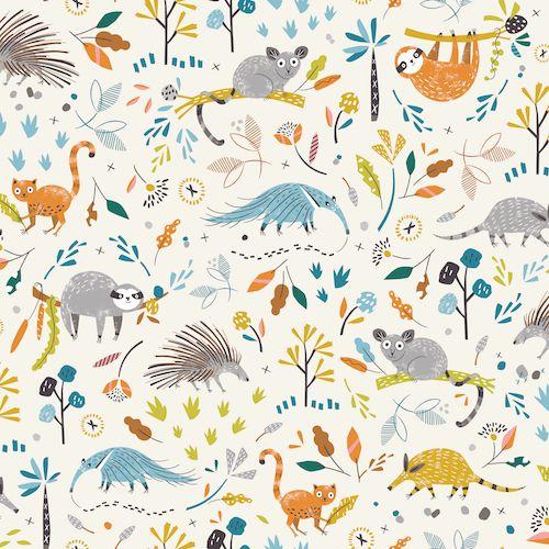 Grey Bird House Nursery Cotton Fabric Baby Room Decor Cushion Quilting Fabric