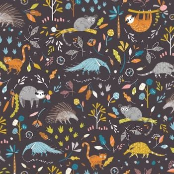Hanging Around Anteater and Friends Sloth Bush Baby Animals Nursery Cotton Fabric