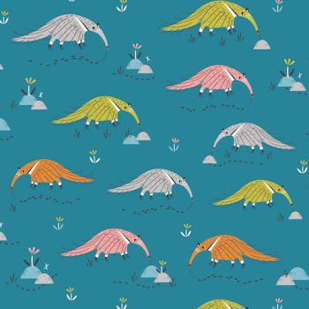 Hanging Around Anteaters on Teal Anteater Animals Nursery Cotton Fabric