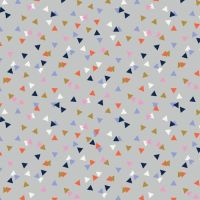 Amelie Geometric Triangles Confetti Triangle Grey Blender Coordinate Cotton Fabric