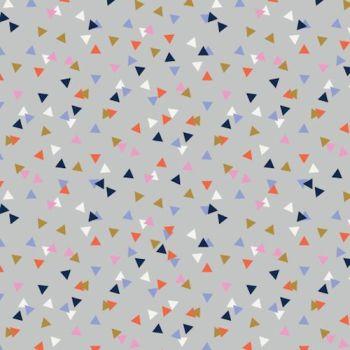 Amelie Geometric Triangles Confetti Triangle Grey Blender Coordinate Cotton Fabric