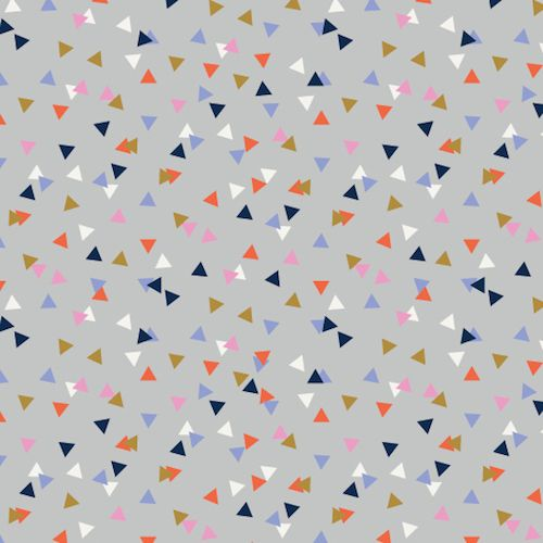 Amelie Geometric Triangles Confetti Triangle Grey Blender Coordinate Cotton