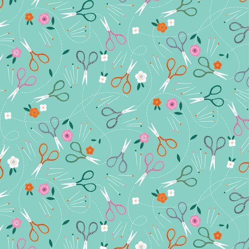 Stitch Notions Scissors Pins Floral on Aqua Sewing Theme Cotton Fabric