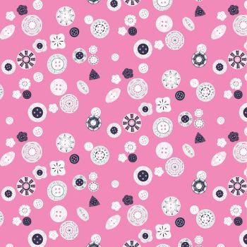 DESTASH 1.15m Stitch Notions Buttons on Pink Button Up Sewing Theme Cotton Fabric