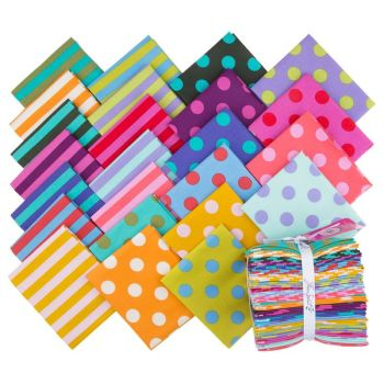 Tula Pink All Stars Pom Poms Stripes Rainbow Colours Blenders Coordinates 24 Fat Quarter Bundle Cotton Fabric Cloth Stack Full Collection