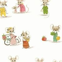 Heather Ross Trixie Thomas City Country Mouse Mice on White Cotton Fabric