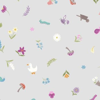 Pretty Little Spring on Light Grey Icons Daffodil Toadstool Goose Bunny Rabbit Jolly Spring Cotton Fabric