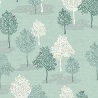 Woodland Trees Bird Forest Woodland Scene Turquoise Teal Scenic Cotton Fabric