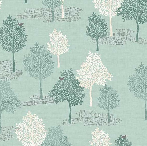 Woodland Trees Bird Forest Woodland Scene Turquoise Teal Scenic Cotton Fabr