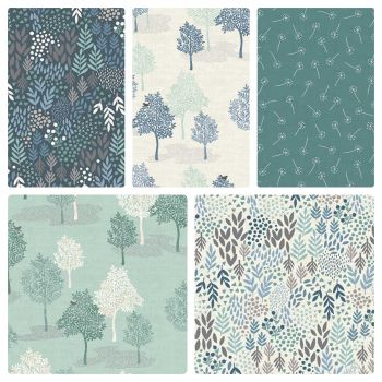 Makower Woodland Trees Seed Head Leaves Floral 5 Cotton Fabrics Fat Quarter Bundle Cloth Stack FQ