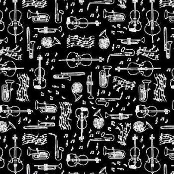 Opus Instruments Black Musical Instrument Music on Black Monochrome Cotton Fabric