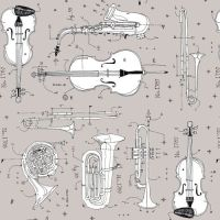Opus Anatomy of Music Instruments Grey Musical Instrument Musician Cotton Fabric