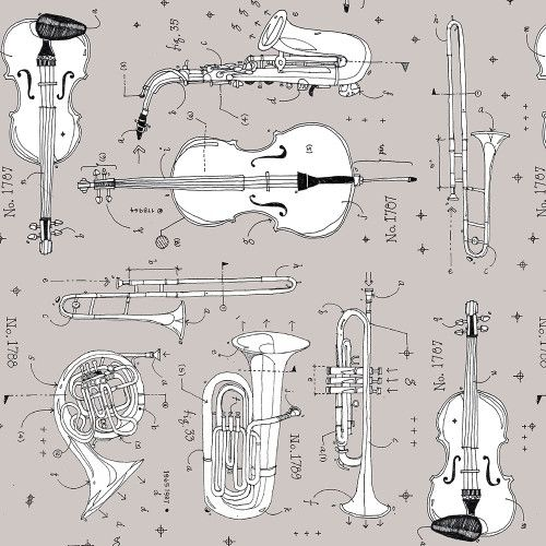 Opus Anatomy of Music Instruments Grey Musical Instrument Musician Cotton F
