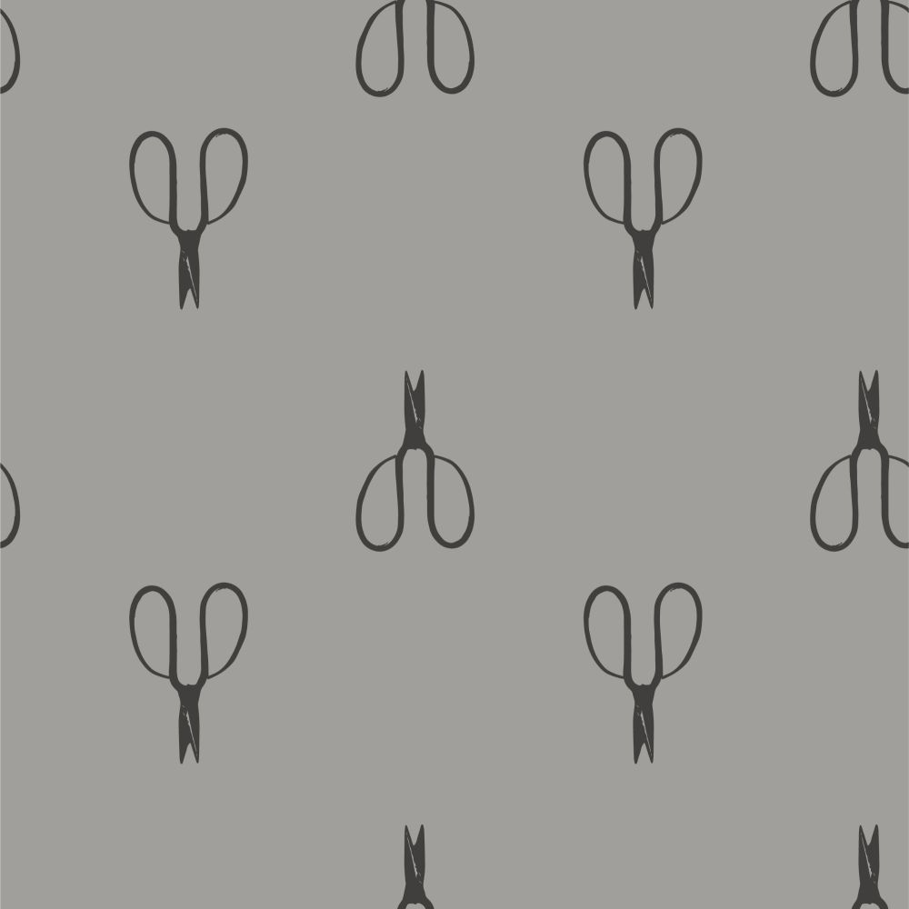 Shades of Grey Vintage Scissors Sweet Bee Designs Cotton Fabric