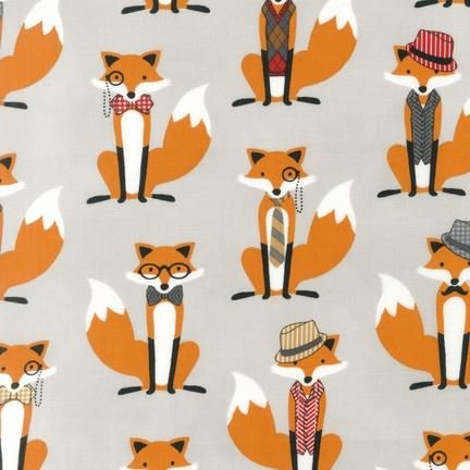 Fox and the Houndstooth Woodland Foxes in Glasses and Hats Cotton Fabric