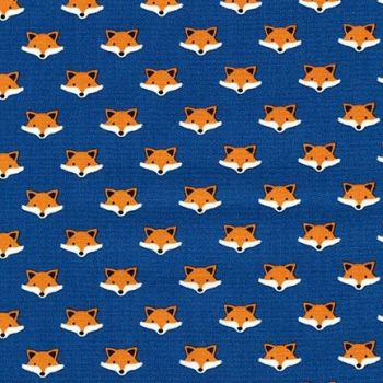 Andie's Minis Fox Faces Royal Blue Foxes Mini Cotton Fabric