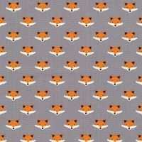 Andie's Minis Fox Faces Grey Foxes Mini Cotton Fabric
