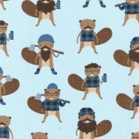 Burly Beavers Denim Lumberjack Bearded Beaver Blue Plaid Cotton Fabric
