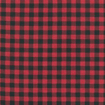 Burly Beavers Red Plaid Lumberjack Check Printed Cotton Fabric