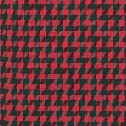 Burly Beavers Red Plaid Lumberjack Check Printed Cotton Fabric