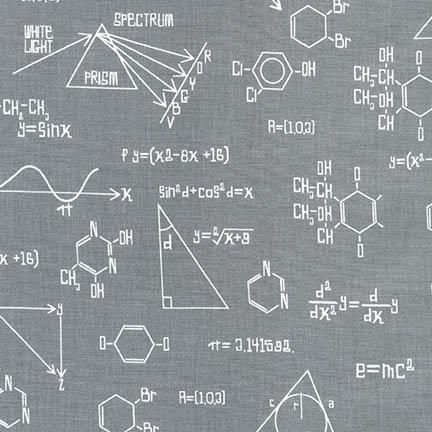 Science Fair Formulas Equations Grey Chemistry Science Geek Cotton Fabric
