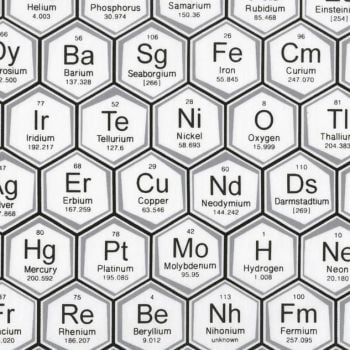Science Fair Periodic Table of Elements Hexagon Geometric Grey Chemistry Science Geek Cotton Fabric