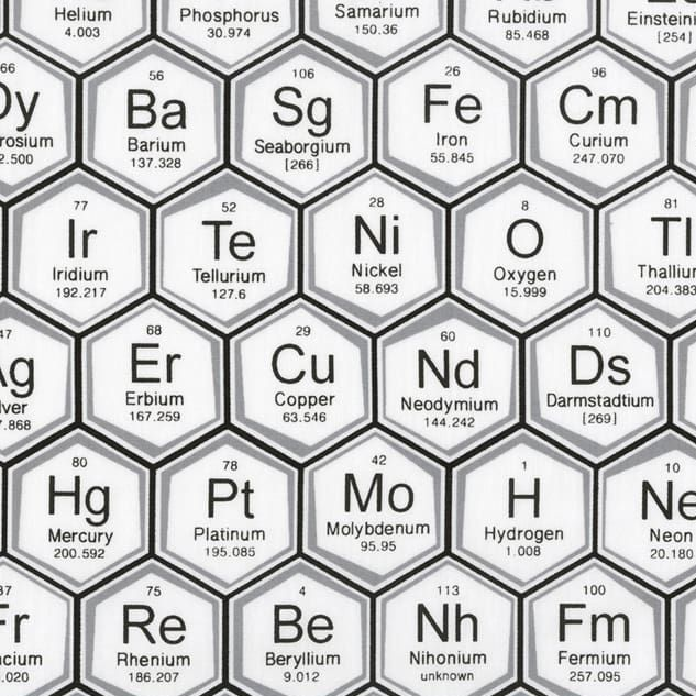 Science Fair Periodic Table of Elements Hexagon Geometric Grey Chemistry Sc