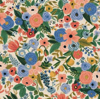 Rifle Paper Co. Wildwood Garden Party Blue Rose Floral Botanical Cotton Linen Canvas Fabric
