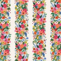 Rifle Paper Co. Wildwood Garden Party Vines Pink Cream Floral Stripe Rayon Challis Fabric