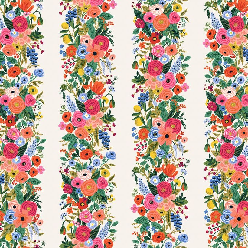 Rifle Paper Co. Wildwood Garden Party Vines Pink Cream Floral Stripe Rayon