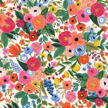 Rifle Paper Co. Wildwood Petite Garden Party Pink Cream Floral Rayon Challis Fabric