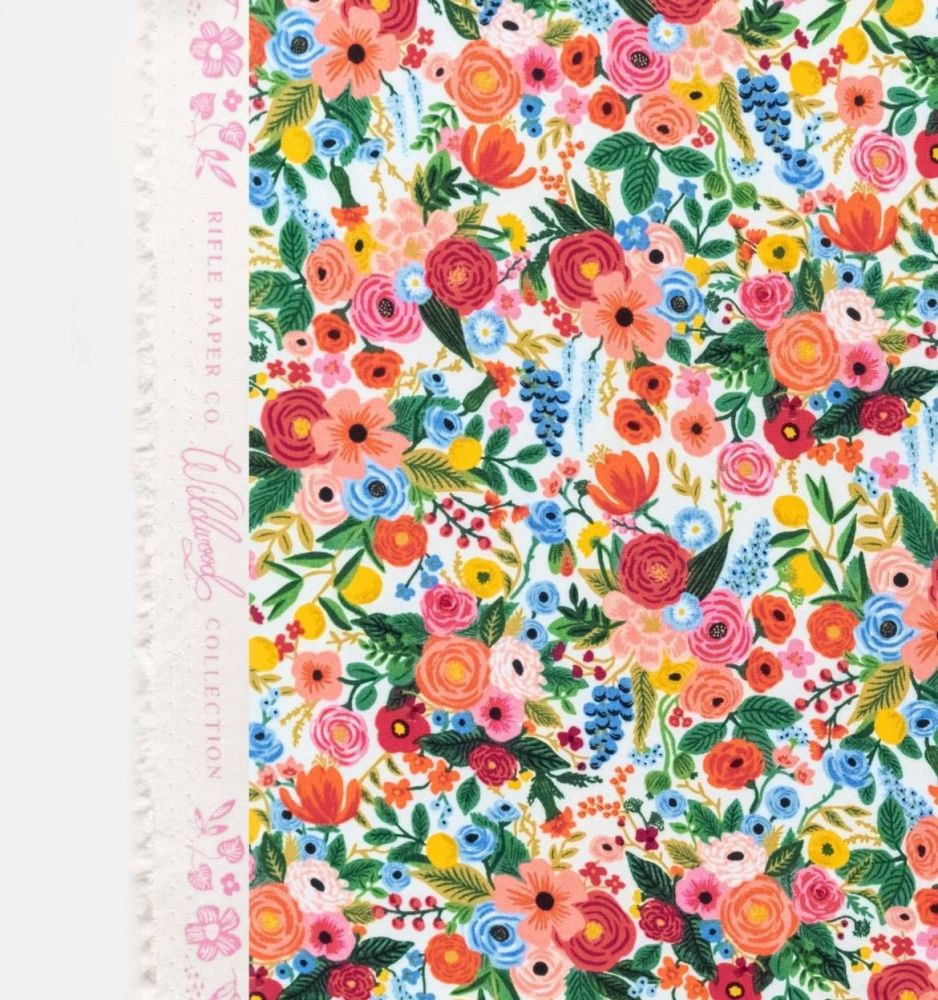 Rifle Paper Co. Wildwood Petite Garden Party Pink Cream Floral Rayon Challi
