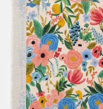 Rifle Paper Co. Wildwood Garden Party Blue Rose Floral Botanical Cotton Linen Canvas Fabric