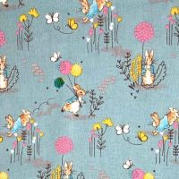 REMNANT 91cm Peter Rabbit Beatrix Potter Classics Nursery Blue Dandelion Cotton Fabric by Visage Textiles