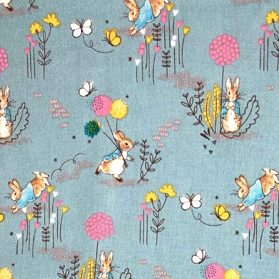 Peter Rabbit Beatrix Potter Classics Nursery Blue Dandelion Cotton Fabric b