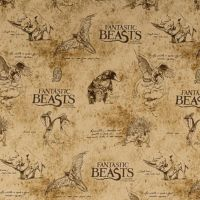 Fantastic Beasts and Where To Find Them Logo Creatures Sketch Parchment Newt Scamander Harry Potter Magical Wizard Witch Cotton Fabric