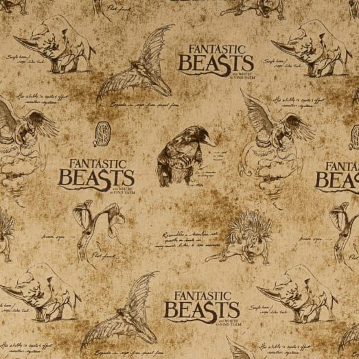 Fantastic Beasts and Where To Find Them Logo Creatures Sketch Parchment New