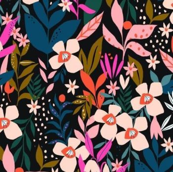 Soiree Rayons Secret Garden Botanical Floral Viscose Rayon Challis Fabric 145cm