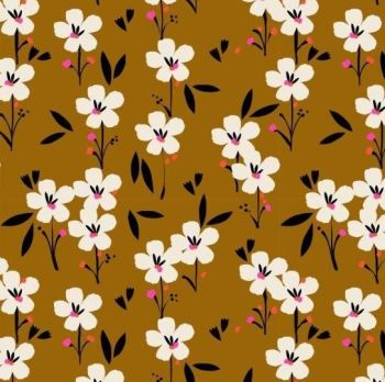 PRE-ORDER Soiree Rayons Spring Brown Mustard Botanical Floral Viscose Rayon Challis Fabric 145cm