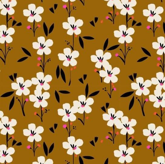 PRE-ORDER Soiree Rayons Spring Brown Mustard Botanical Floral Viscose Rayon