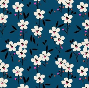Soiree Rayons Spring Navy Blue Botanical Floral Viscose Rayon Challis Fabric 145cm