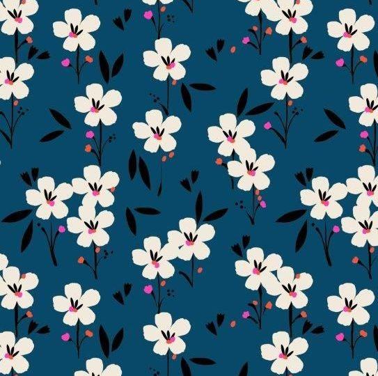 PRE-ORDER Soiree Rayons Spring Navy Blue Botanical Floral Viscose Rayon Cha