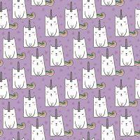 Caticorns Lilac Cat Unicorns Cats Novelty Metallic Gold Caticorn Sparkle Cotton Fabric