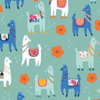 Llamas Mint Llama Flower Floral Novelty Cotton Fabric