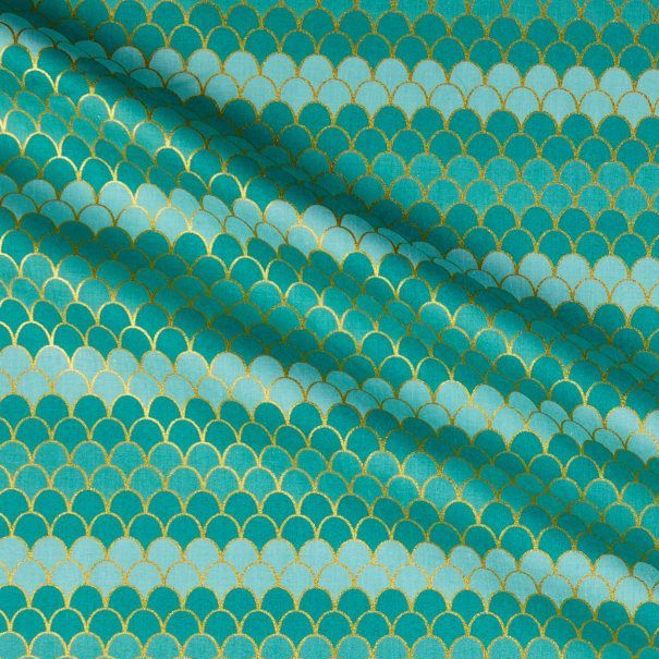 Let's Be Mermaids Scallops Teal Sparkle Metallic Gold Ombre Scales Mermaid