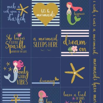 Let's Be Mermaids Panel Navy Sparkle Quilting Cheater Mermaid Metallic Gold Quilt Cotton Fabric per panel